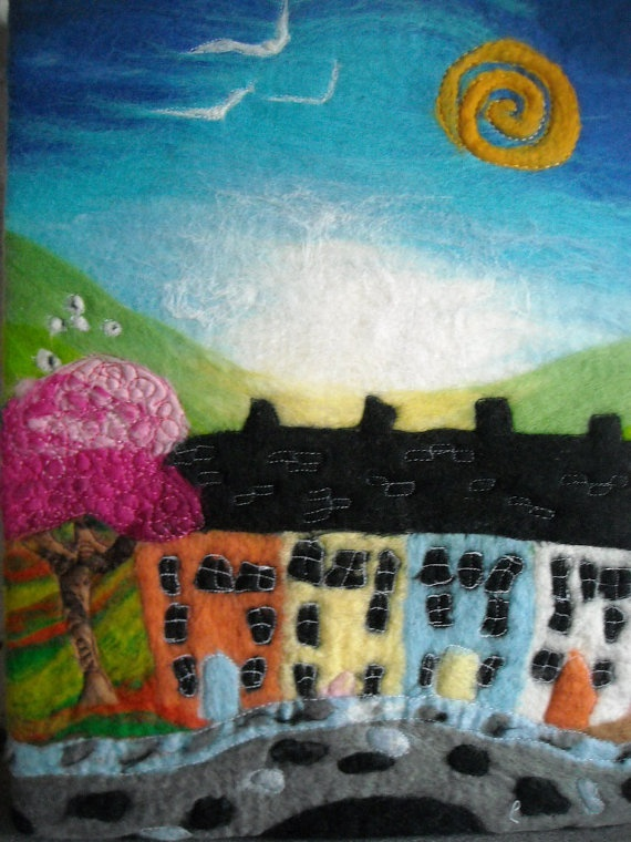 fibre painting felt wall art wet felted by SueForeyfibreart, $90.00