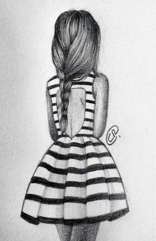 Girl back pencil sketch