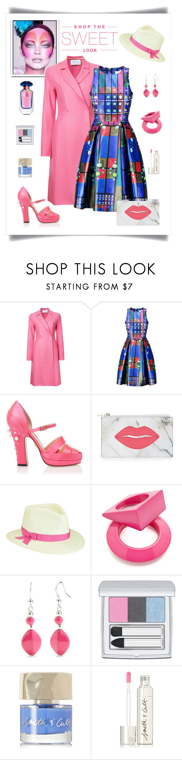 """""""Peter Pilotto Printed Silk Dress Look"""" by romaboots-1 ❤ liked on Polyvore featuring Harris Wharf London, Peter Pilotto, Charlotte Olympia, Betmar, Maison Margiela, Kim Rogers, RMK and Smith & Cult"""