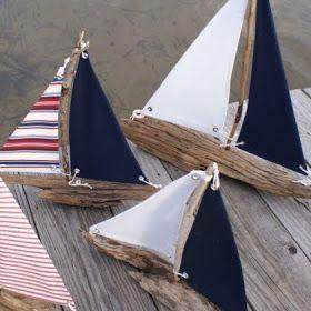 handmade driftwood sailboats