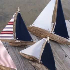 handmade driftwood sailboats are by : Caron's BeachHouse