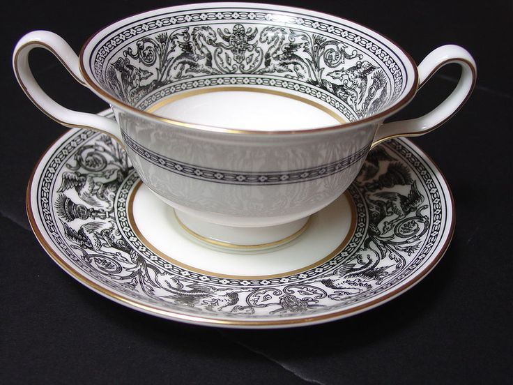 Wedgwood Florentine Black Cream Soup Bowl \u0026 Underplate UK Gold Trim #Wedgwood & 64 best China Patterns images on Pinterest   China patterns Chinese ...
