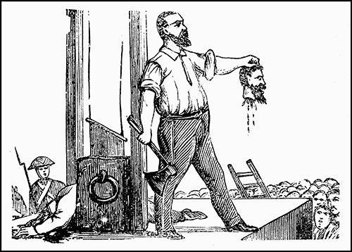 """Storia in ottava rima del brigante Lazzarino che termina con la sua decapitazione: """"... Qui il corso d'ogni azion di lor s'arresta /  che gli tronca il carnefice la testa!"""""""