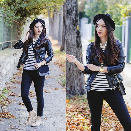 H&M Wool Hat, Zara Faux Leather Jacket, Front Row Shop Chunky Pearl Necklace, Tally Weijl Black Jeans