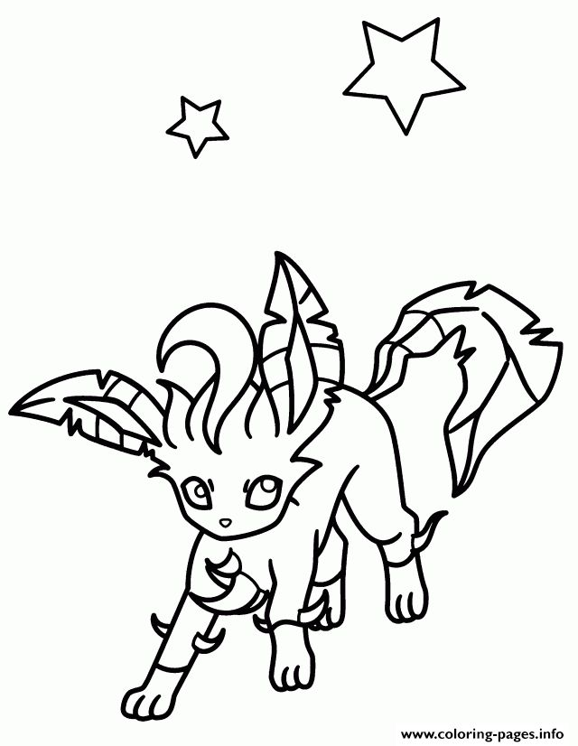 print leafeon eevee pokemon coloring pages - Grass Type Pokemon Coloring Pages