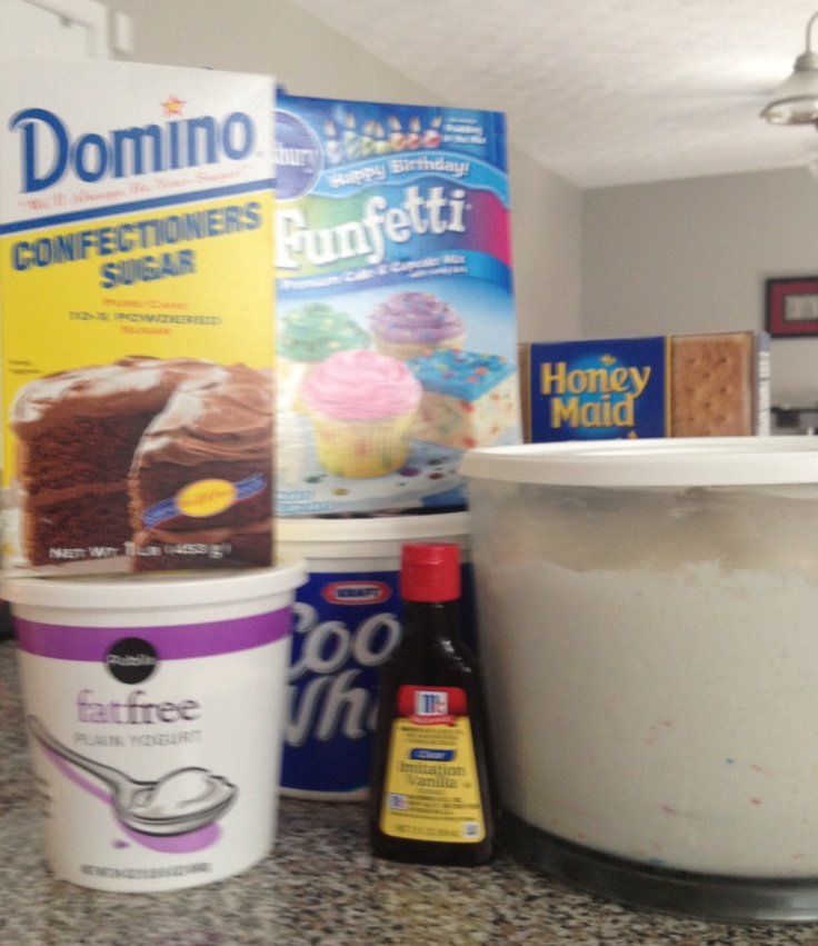 After trying the Dunkaroo Dip recipe that's going around I wanted to share the changes I made   My Dunkaroo Dip - 1 box of funfetti cake mix - the whole (biggest) tub of cool whip    - a tablespoon (yes a whole tablespoon, maybe even a little more) of vanilla flavoring   - a box of powdered sugar   - 2 cups of plain yogurt (next time I think I'll use vanilla yogurt and only 1 cup)        With the changes it's of course sweeter but more like I remember!
