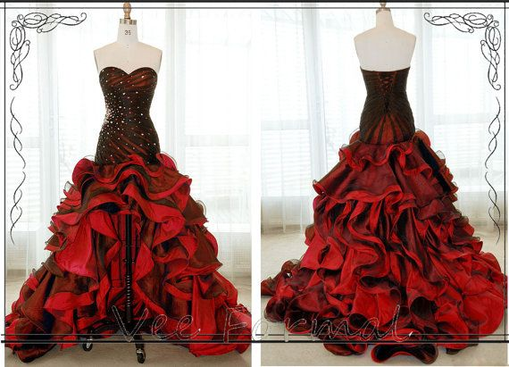 Romantic Black And Red Beaded Fitted Bodice High-low Ruffled Skirt Prom Dress