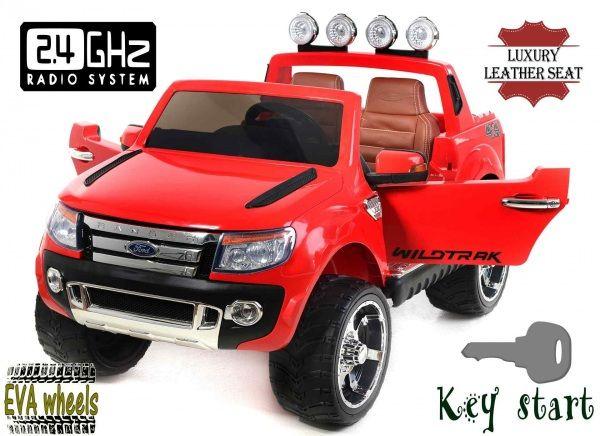Elektrické autíčko Ford Ranger Wildtrak Luxury, EVA kolesá, čalúnené sedadlo, 2,4 GHz DO, kľúč, 2 X MOTOR, Dvojmiestne, Červené, USB, SD karta, ORGINAL licencia