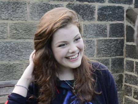 Georgie Henley receives A-level results at Bradford Grammar School: A* in History, As in English and Latin. She's going to Cambridge University in October!