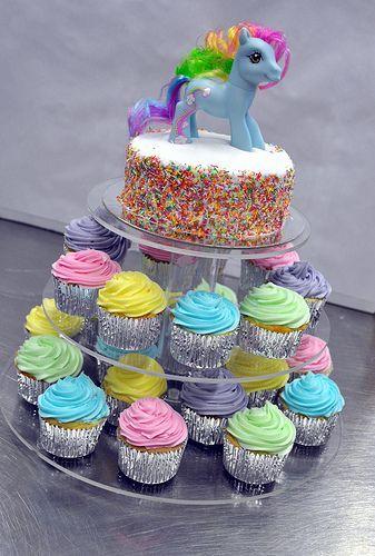 Rainbow Sprinkle My Little Pony Birthday Cake and Cupcakes