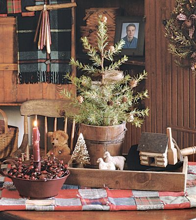 I like the tablescape!!!: Cabin Christmas, Christmas Tables, Primitives Decor, Country Christmas, Decor With Primitives, Primitives Christmas, Christmas Decor, Christmas Trees, Logs Cabin