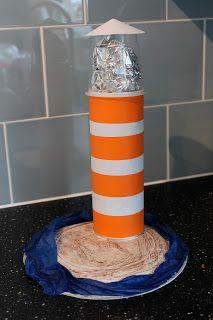 Knitty Mummy: Yogurt Pot Crafts for Kids - Lighthouse and 3D Fishtank. Recycing Pringles tube.