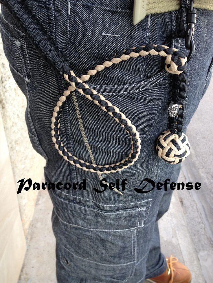 Paracord auto defensa. El primero que hice con bola de acero, anillas y calaveras...