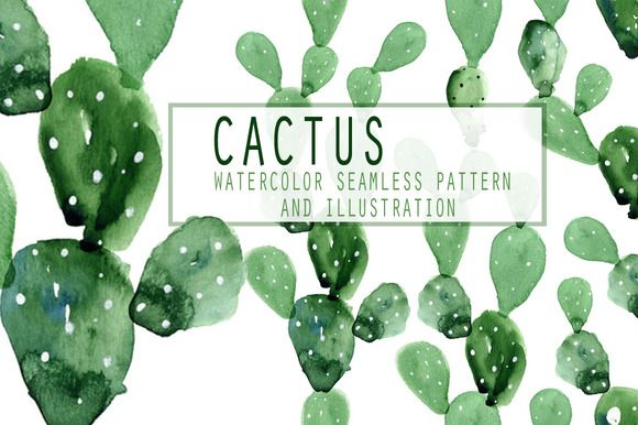 5 Watercolor cactus patterns by WatercolorArt on @creativemarket