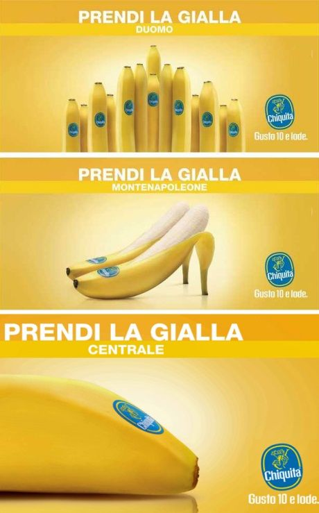 """""""Prendi la gialla"""" (take the yellow): I really really like this new adv campaign by Armando Testa! They are great with fruits (do you remember adv campaigns for Esselunga?). And for those not from Milan, """"the yellow"""" means """"the yellow tube line"""" :)"""