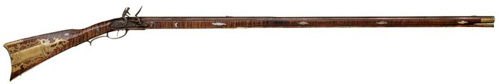 A beautiful flintlock Pennsylvania Long Rifle crafted by John Shell of Lower Paxton Township, Dauphin County, Pennsylvania.  Dated to 1817. Sold at Auction: $6,000