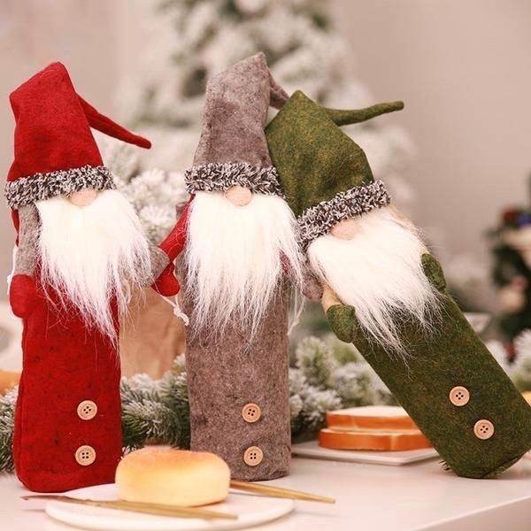 Christmas Wine Bottle Cover White Beards Santa Claus Snowman Xmas Tree Hanging