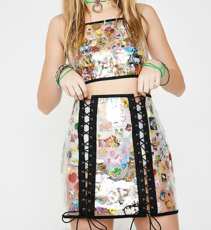 Clear Sticker Crop Top, Lace Up Skirt & Fuzzy Jacket