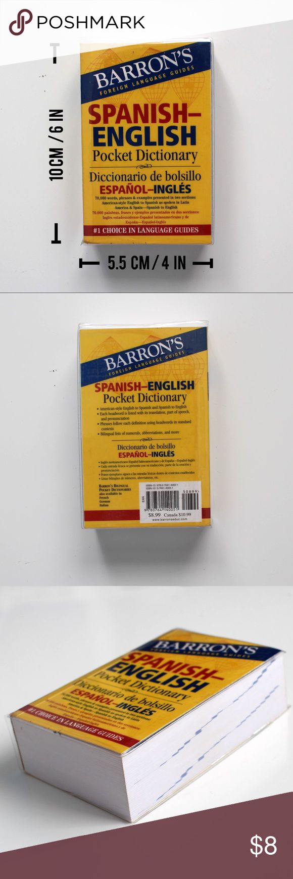 Barron's Spanish - English Pocket Dictionary 📕 CHEAPER ON MERCARI @simplymaci  📙 Great, easy to read, Spanish-English pocket dictionary!  📒 Must-have for any student hoping to become fluent in Spanish!  📗 Has a water-resistant plastic book cover which reduces the chance of stains and damage.   📘 The only evidence of use is whiteout on the inside of the front cover, but other than that, it is untouched as shown by the appearance of the pages in the fourth picture. Barron's Other
