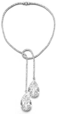 A Belle Epoque platinum and diamond necklace, by Chaumet, circa 1911. Featuring a pair of very large pear-shaped diamonds of the finest quality, set into light, flexible platinum settings. Supplied to the Maharaja of Indore. #BelleÉpoque #necklace