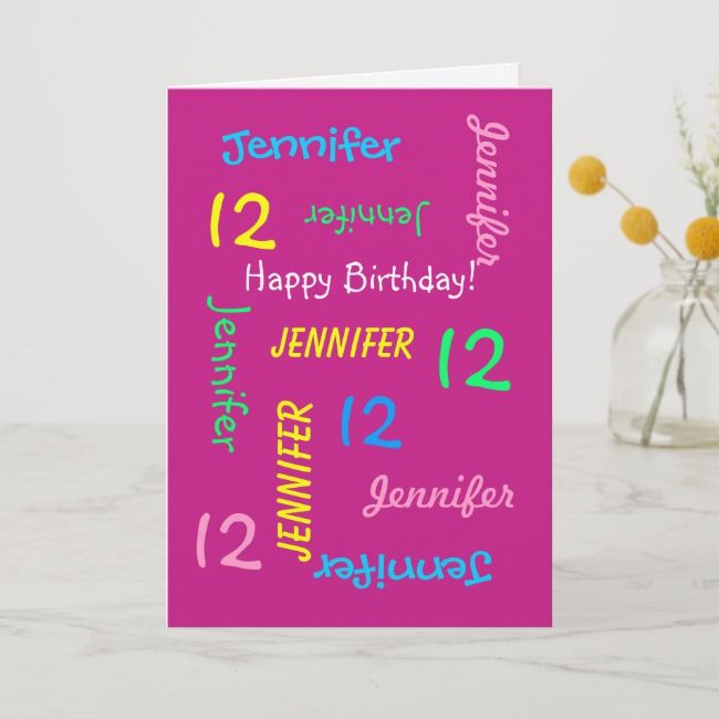 Admirable Personalized Greeting Card Pink 12 Years Old Zazzle Com Funny Birthday Cards Online Sheoxdamsfinfo