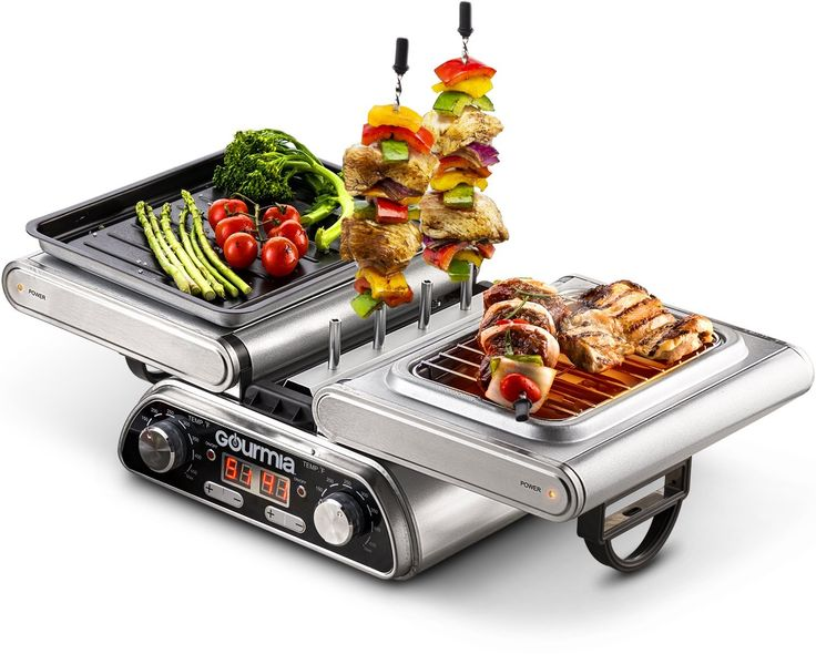 Gourmia GDG1900 Digital Dual Indoor Grill, Folds for Double Sided Steak Grilling, 10 in 1 Grill and Cook System, Expanded Accessory Kit Includes Grilling Basket, Kebab Rack and More, Free Recipe Book *** New and awesome product awaits you, Read it now  : Roasting Pans