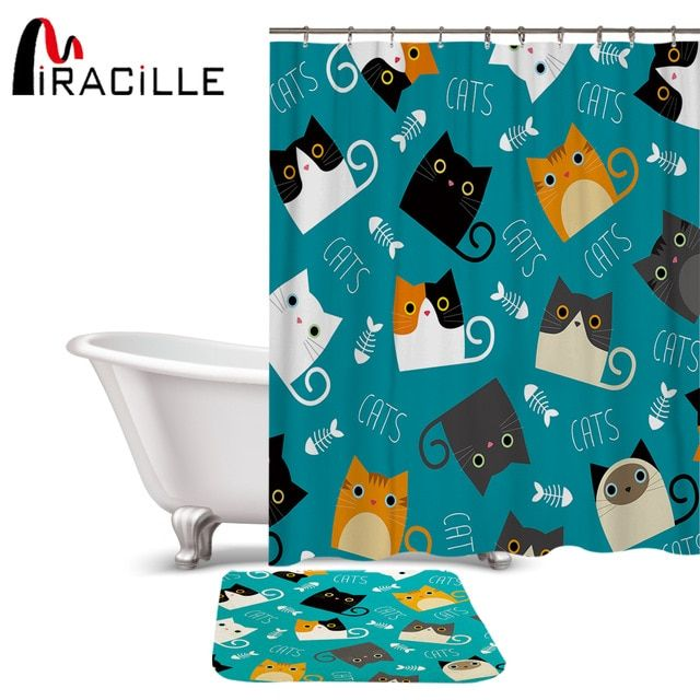 Miracille Cartoon Shower Curtain Set Cute Cat Printed Design Fabric Polyester Waterproof Home Bathroom Decor