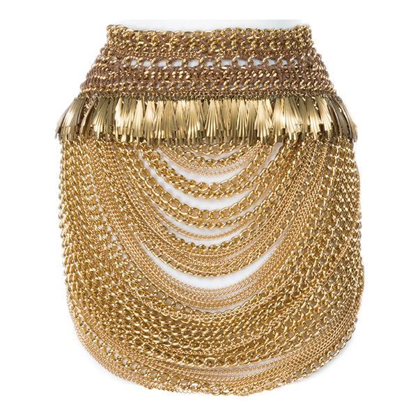 """""""Enobaria"""" golden skirt and bracelets from Quarter Quell interview... ❤ liked on Polyvore featuring jewelry, bracelets, golden jewelry, antique bangles, golden jewellery, antique jewelry and antique jewellery"""