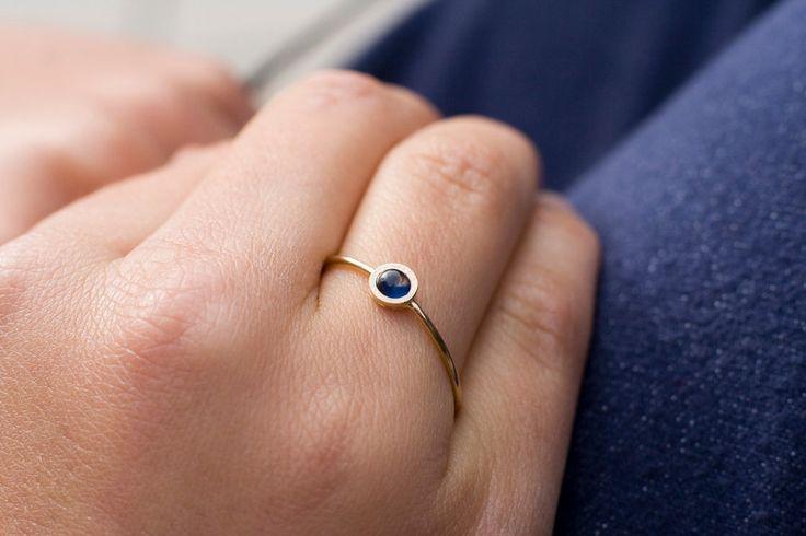 Niebieski szafir -pierścionek złoty 585 Arpelc - arpelc - Pierścionki złote