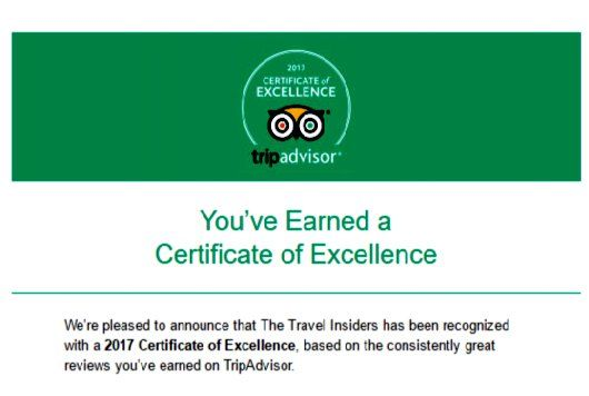 We did it again! We are extremely pleased to announce that #theTravelinsiders have been awarded the #CertificateofExcellence2017 !!! Thank you all for your continued support and your wonderful reviews on #TripAdvisor !