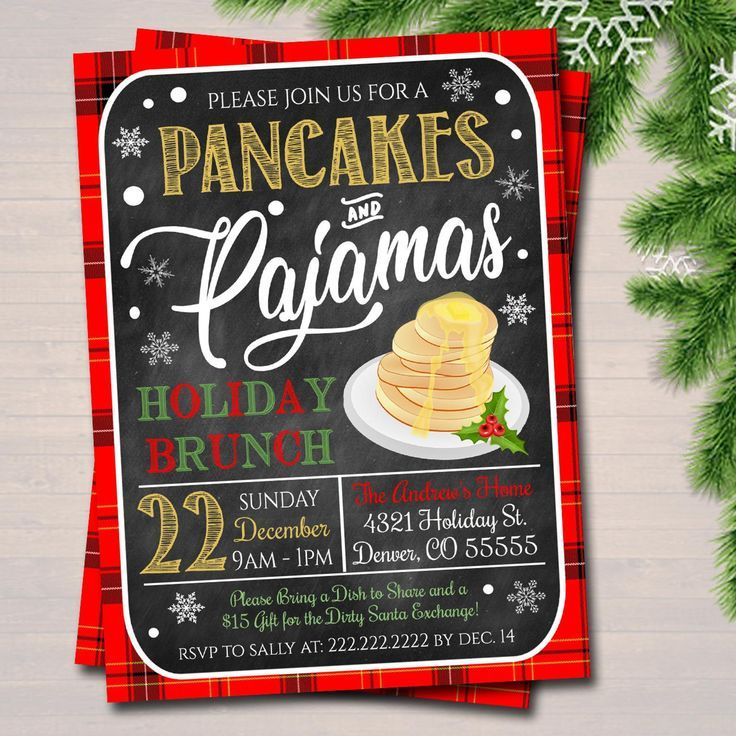 Christmas Party Breakfast Themes For Kids 2020 Christmas Pancakes and Pajamas Xmas Party Invitation | Etsy in