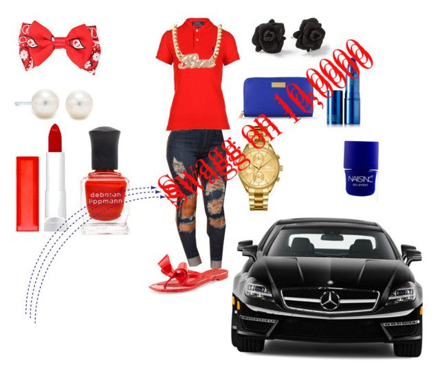 """""""Red and blue"""" by angle1983 ❤ liked on Polyvore featuring Polo Ralph Lauren, Lacoste, STELLA McCARTNEY, Valentino, Mercedes-Benz, Maybelline, Deborah Lippmann, Nails Inc., Lipstick Queen and Tiffany & Co."""