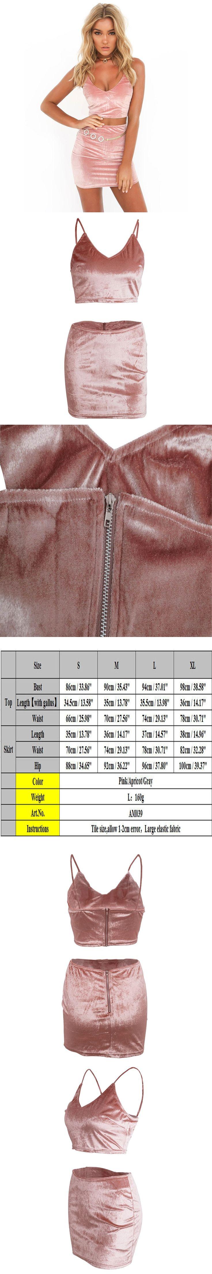 2017  Sexy sleeveless Women Two Pieces Set  Strap Deep V Backless Zipper vest Back Velvet Crop Top Sheath Bodycon Mini Skirt