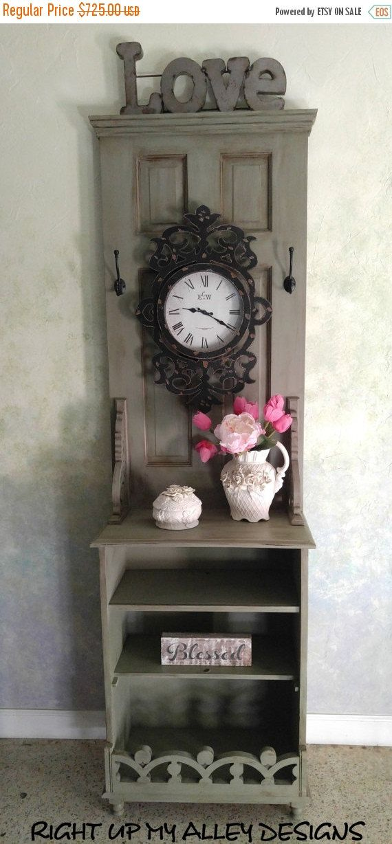 Christmas Sale Vintage hall tree,entryway organizer.hall tree with door,hall tree storage,shabby chic hall tree,annie sloan painted furnitur