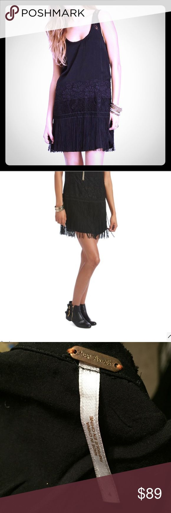 FREE PEOPLE charleston fringe black shift dress Lace and fringe detailing make this little black dress stand out. A beautiful piece only worn once in near perfect condition!! Free People Dresses Mini