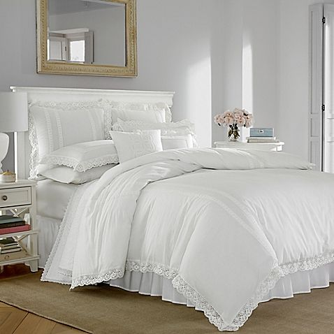 Giving a nod to classic style, the Laura Ashley Annabella Duvet Cover Set is a beautiful display of white on white bedding design. The cotton ensemble is trimmed with crocheted lace, adding romance and modern femininity to your bedroom décor.