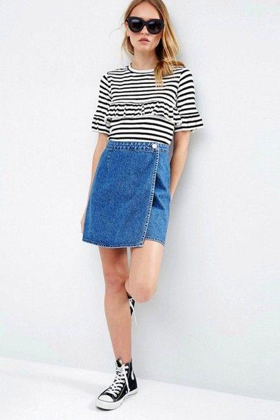 Sunglasses: lefashion, blogger, casual, summer outfits, ruffled top, asymmetrical skirt, denim skirt, converse, high top converse, striped t-shirt - Wheretoget