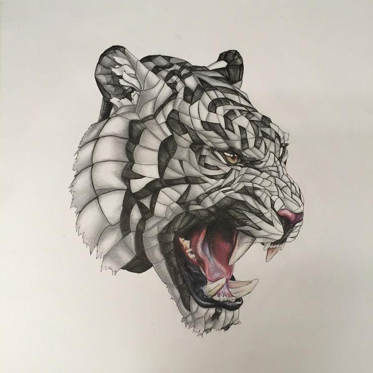 Wrapped Tiger, Pencil/Pen/Colour Pencil, 20x20 in.