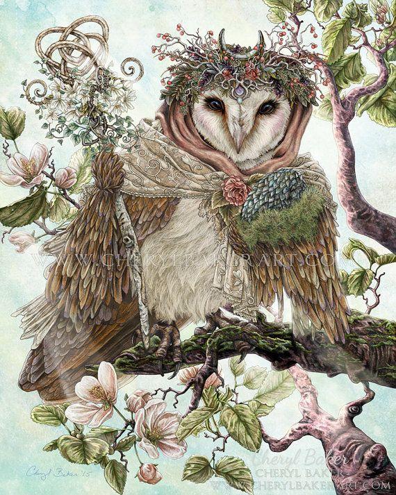 Owl Decor  Owl Art  Barn Owl  Owl Wall Art  door steelgoddess