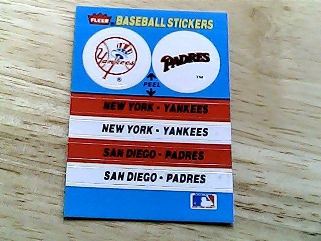 fleer baseball stickers yankees/padres/ philles