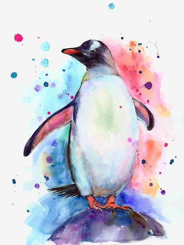 Penguin watercolor print, colorful penguin wall art ...