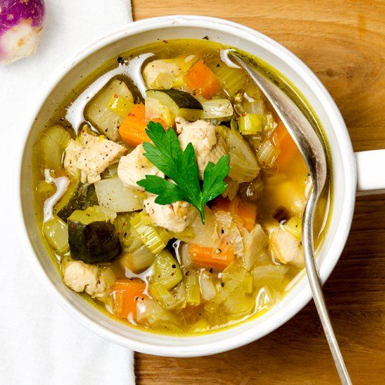 This chicken vegetable soup has the traditional mirepoix plus leeks, turnips and zucchini to keep it interesting.