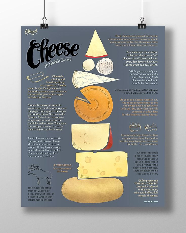 That's right, they make moose cheese. Seriously. This and many more stinky facts detailed on this compendium of cheese. Illustrations and text by Bambi Edlund. Museum-quality poster printed on thick,                                                                                                                                                                                  More