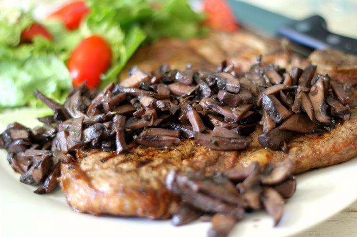 Pinot Noir Mushroom Reduction Sauce with Grilled T-Bone Steak