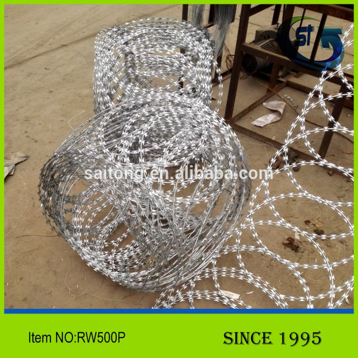 high quality Saitong Concertina Razor Ribbon Barbed Wire security Fence panel Razor Wire RW500P