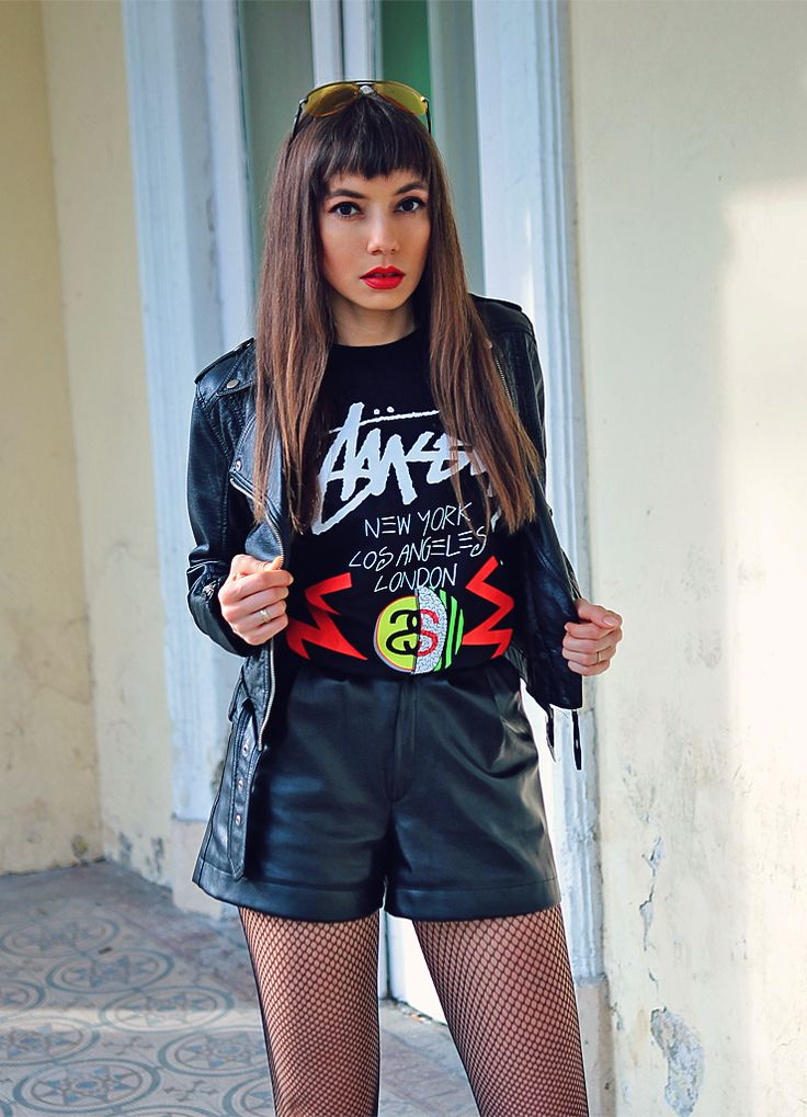 Stussy tee and biker jacket: http://jointyicroissanty.blogspot.com/2017/03/a-little-bit-edgy.html