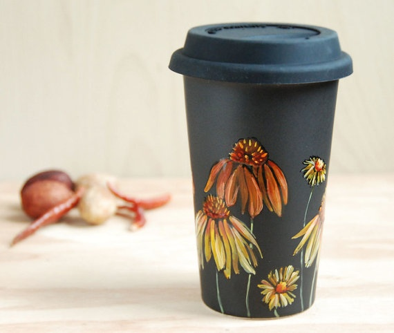 hand-painted ceramic travel cup - take without the toss! @TakeOutWithOut