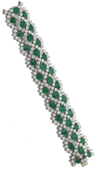Emerald and diamond bracelet, Van Cleef & Arpels.