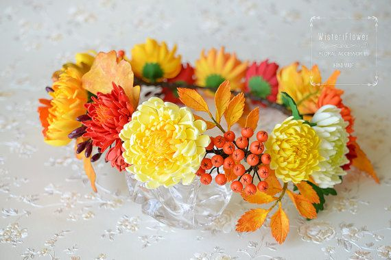 Flower crown Autumn crown Wedding crown Bohemian от WisteriFlower