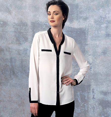 This new top pattern from Anne Klein for Vogue Patterns can go casual for weekends or dressier for work, your call. Sew V1463, Misses' Top and Shirt